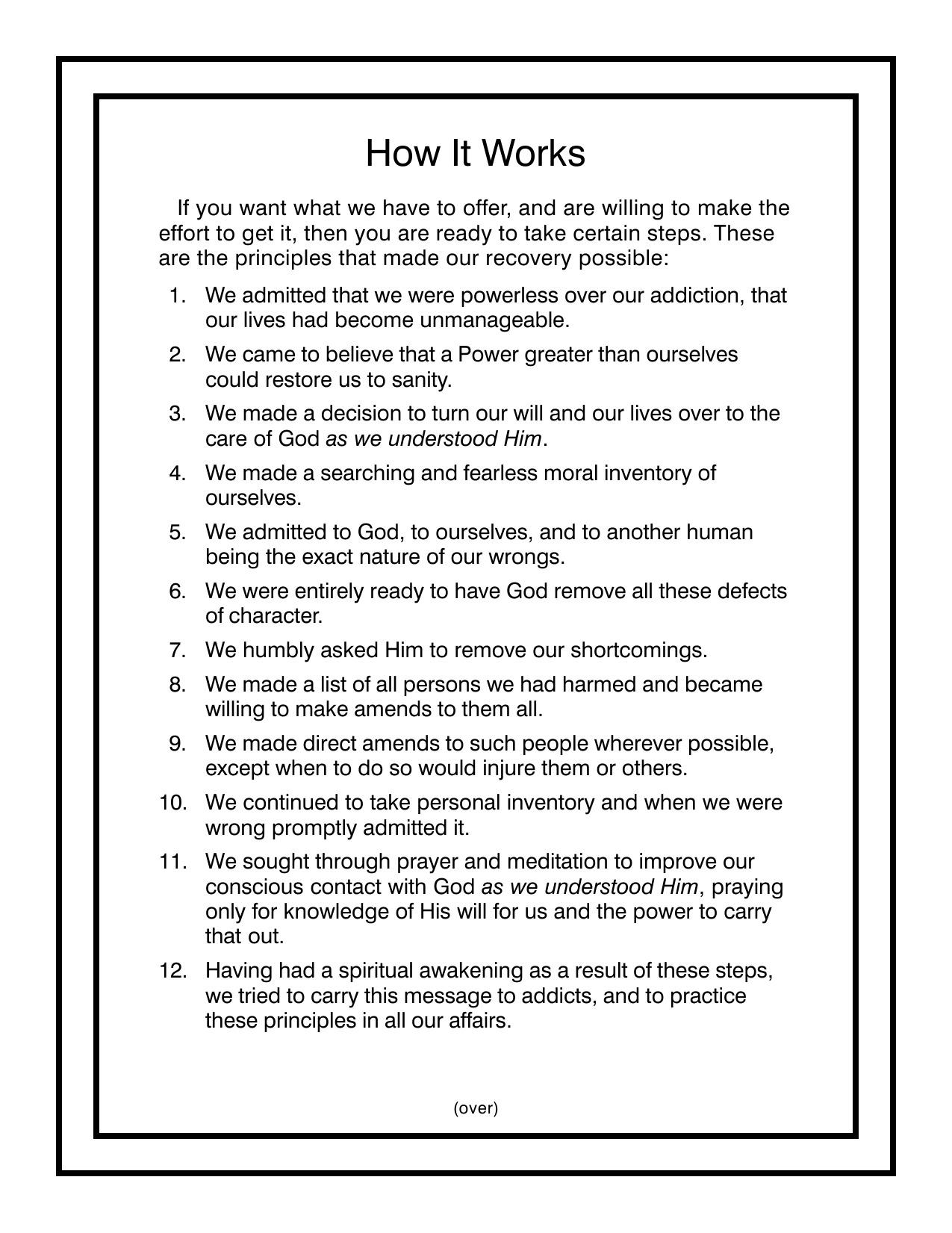 Worksheets for twelve steps aa